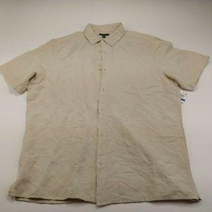 Alfani Men's Button Up Polo Beige Short Sleeve XL